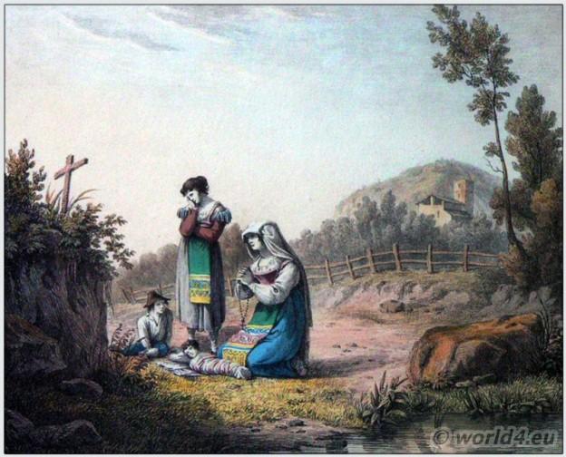 Traditional women clothing of Terni. Italian national costume. Italy Folk dress. Bartolomeo Pinelli