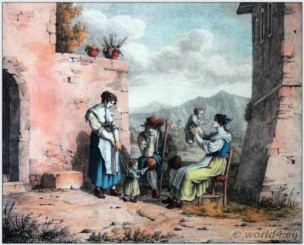 Traditional women clothing of Tivoli. Italian national costume. Italy Folk dress