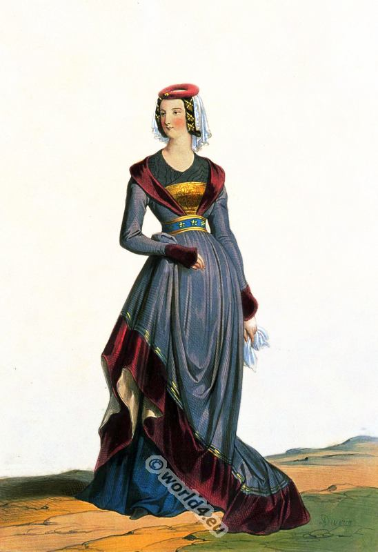 French lady in medieval burgundian costume