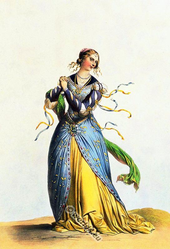 Dame, française, costumes, modes, moyen age,