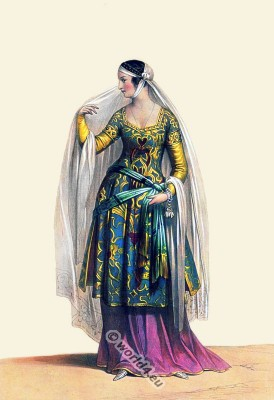 Florentine lady, 13th century fashion, Medieval dress, Italy