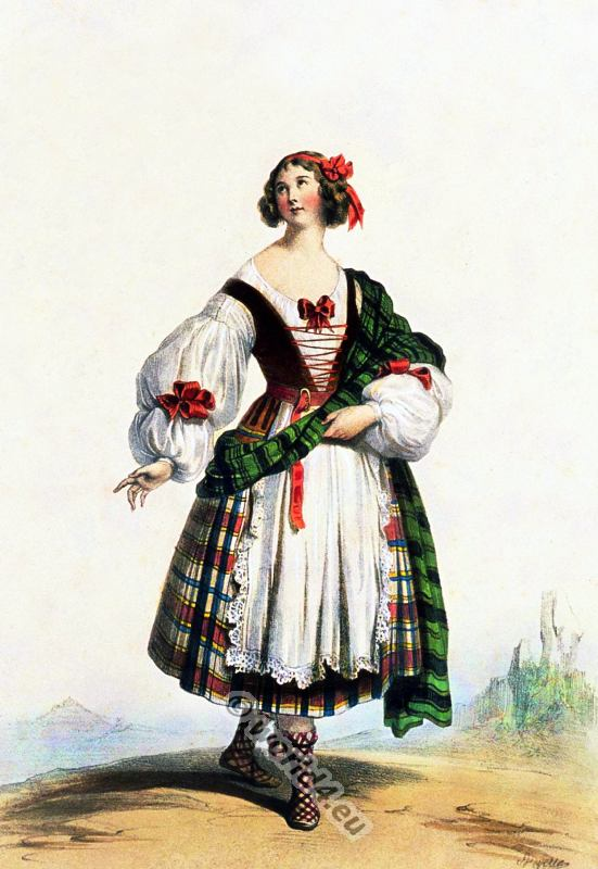 Medieval Scottish woman costume XIV Century. Scottish national clothing