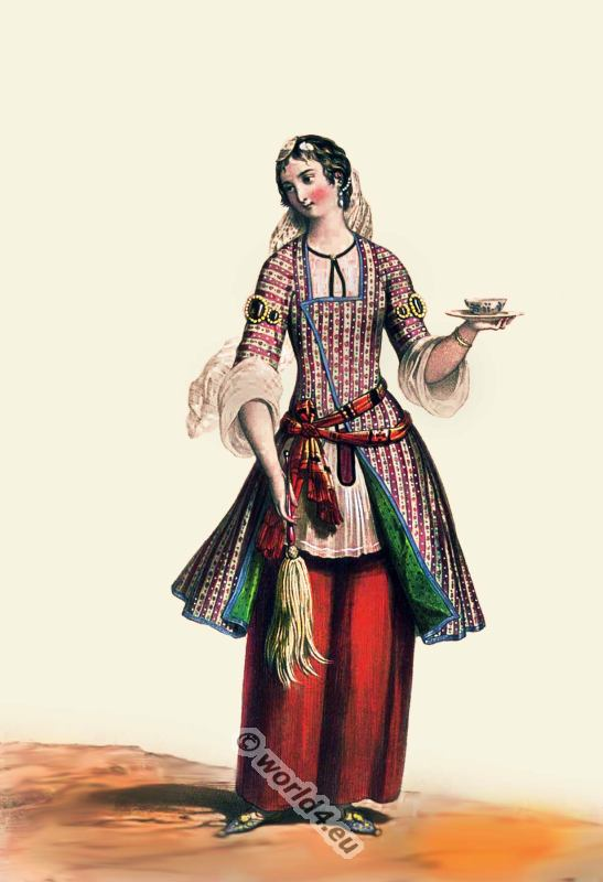 19th century Persian costume. Medieval Persia nobility clothing. Female persian dress.