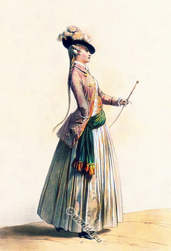 Costume de chasse 1779. Women`s Hunting costume. France Ancien Régime fashion. French Rococo costumes. Hoop skirt, Farthingale. Le Pouf.