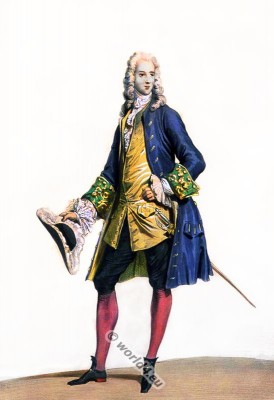 French Nobleman. Rococo costume. France 18th century clothing. Louis XV. Ancien Régime fashion. Court Dress in Versailles