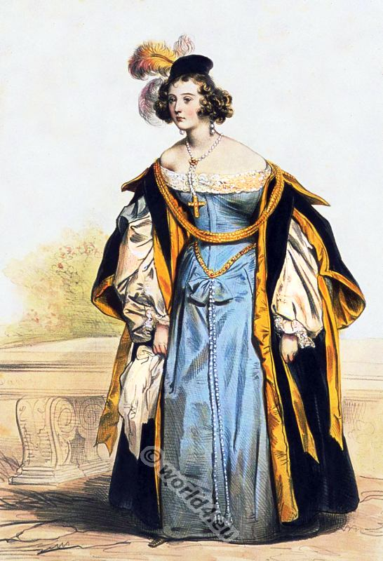 Spanish Renaissance costume. 16th century medieval clothing.