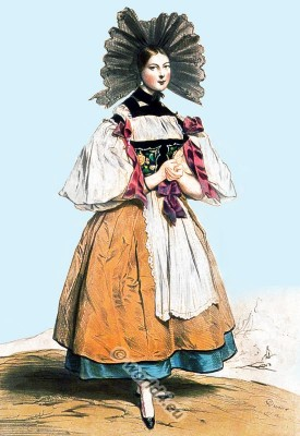 Traditional Switzerland national costume. Swiss folk costume. Clothing Canton of Bern