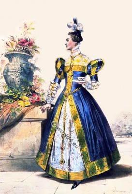 Mary Stuart Maid of Honor. French court dress. 15th century costume. Renaissance fashion.