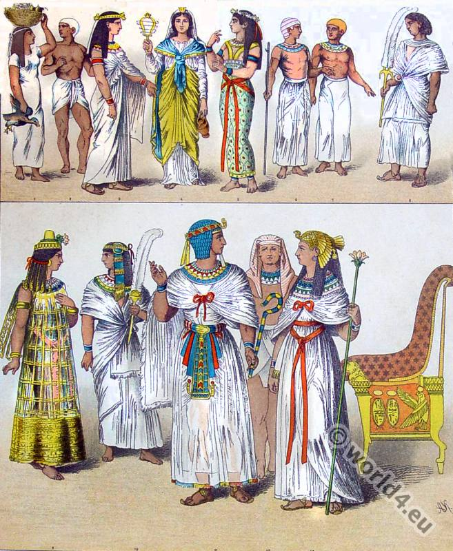 Costumes of the ancient Egyptians Princess, Pharaoh, King, Fanbearer. Classical Culture of the mediterrane. pakaian perang mesir kuno
