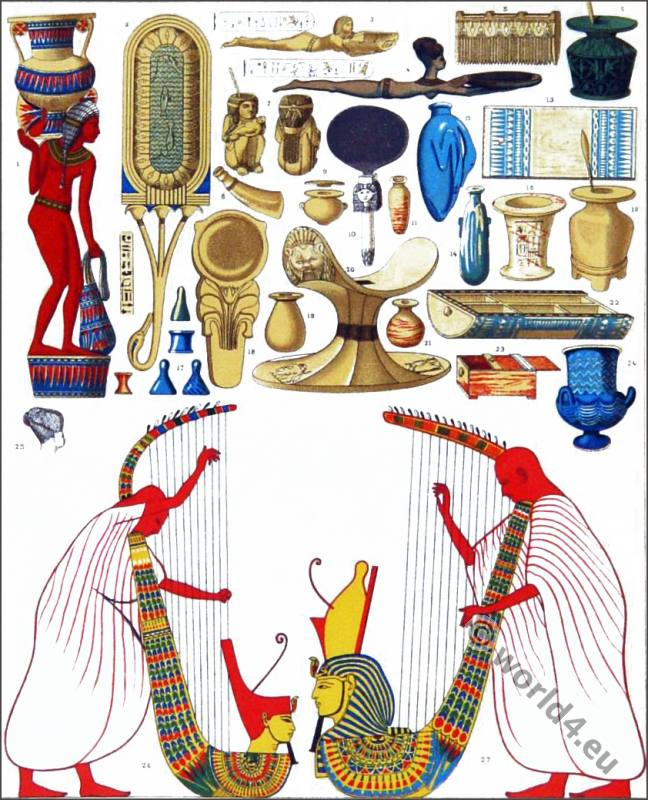 Ancient Egypt Music instruments harp, musical instruments, eunuchs, loom comb, oil lamps, wigs. Harem of Pharaoh. Cleopatra costume