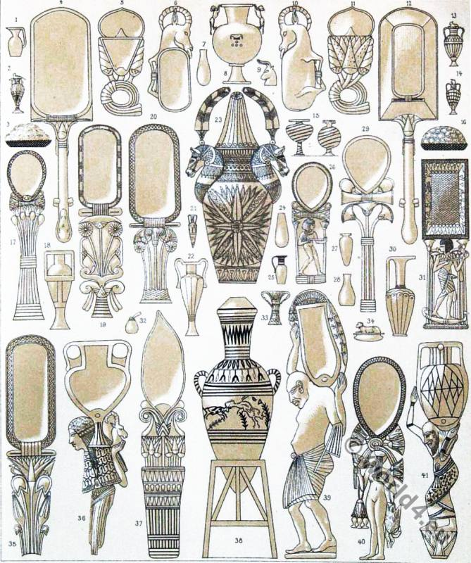 Domestic utensils in ancient Egypt. Egyptian mirrors, make-up vessels, zermonial objects