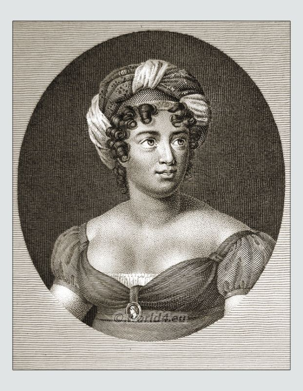 Madame de Staël. Famous woman 18th century. French writer. Revolution costume. Merveilleuses hairstyle