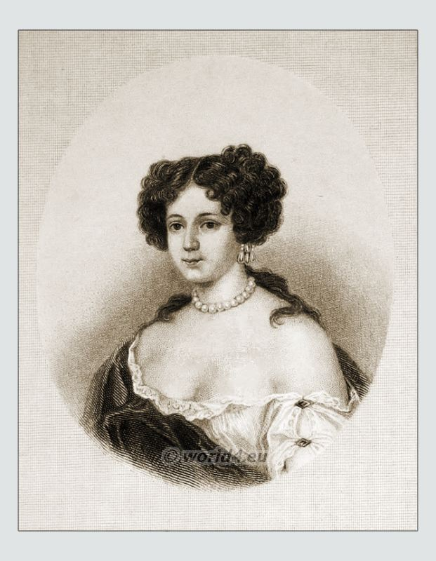 Marie Mancini courtisan of Louis XIV. Baroque hairstyle. Fashion costume and clothing of Versailles.
