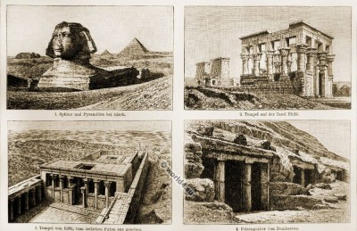 Ancient Egyptian architecture and arts. Sphinx and pyramids at Giza. Temple of Philae. Temple of Edfu. Rock tombs of Beni Hasan.