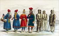 Lapp Saami clothing. Folk Costumes of Lapps and Eskimo. Lapland Gakti. Indigenous nomadic people