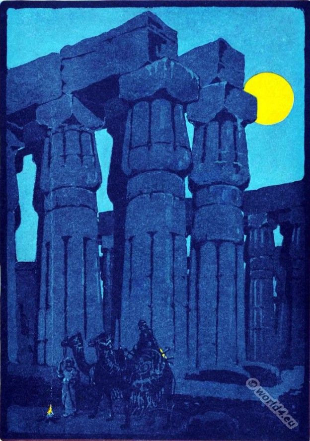 Ancient Egyptian architecture. The Tempel of Luxor. Egypt gods. Lithography.