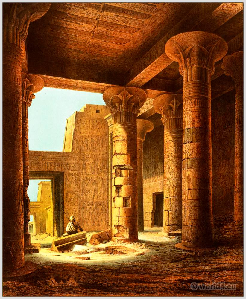 Ancient Egyptian Temple of the Goddess Isis. Hut-chenti, island of Philae. Egypt ornaments, decoration.