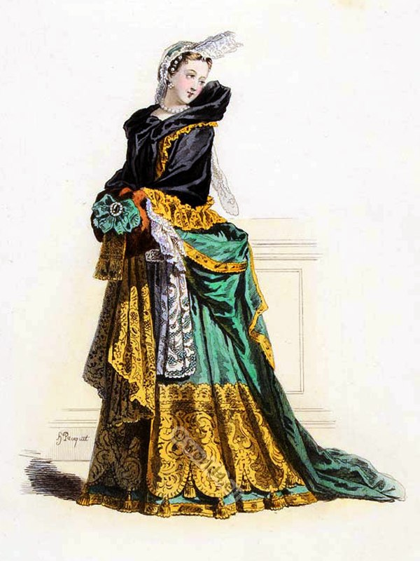 Dame de Qualité, Louis XIV, fashion, history, court, dress, baroque, 17th, century, Versailles,