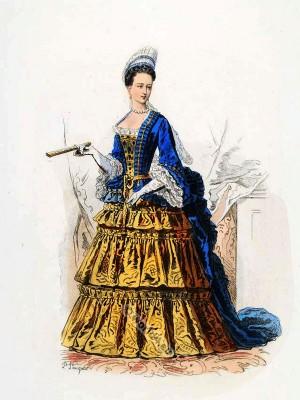 La Duchesse d'Orléans. Baroque costumes. 17th Century clothing. Louis XIV fashion. Court Dress in Versailles