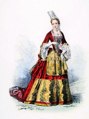 Louis XIV fashion. Duchess court dress. Baroque fashion.
