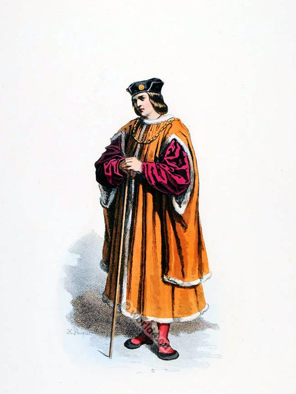 Parisian Bourgeois in Louis XIV Ancien Régime fashion. French Renaissance clothing. France medieval costume