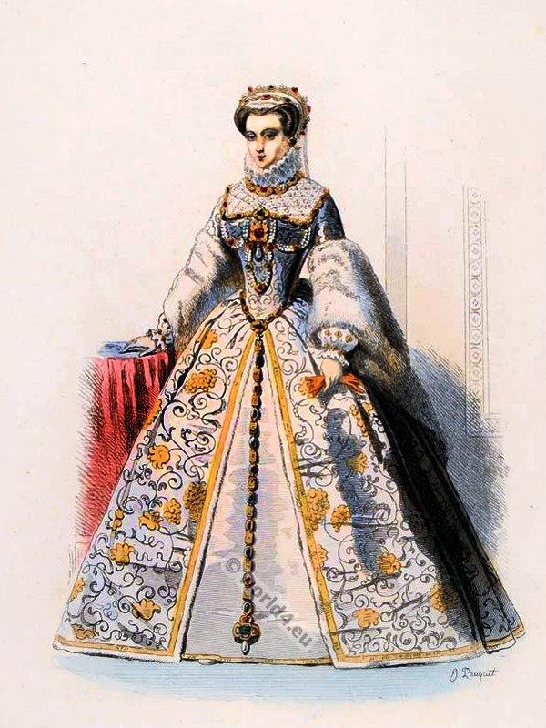 Elisabeth of Austria. Queen of France. Ancien Régime fashion. French Renaissance clothing. France medieval costume