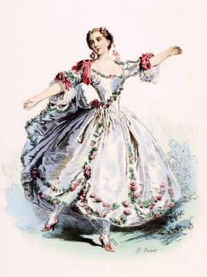 Marie Camargo, Opera dancer, ballerina. Rococo fashion. Baroque costumes.