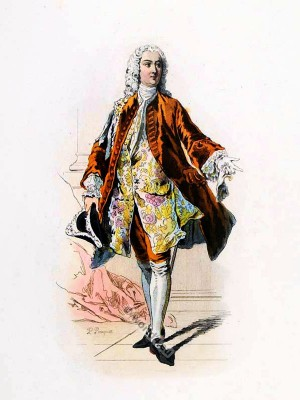 French Marquis in Rococo costume. France18th century clothing. Louis XV Ancien Régime fashion. Court Dress in Versailles