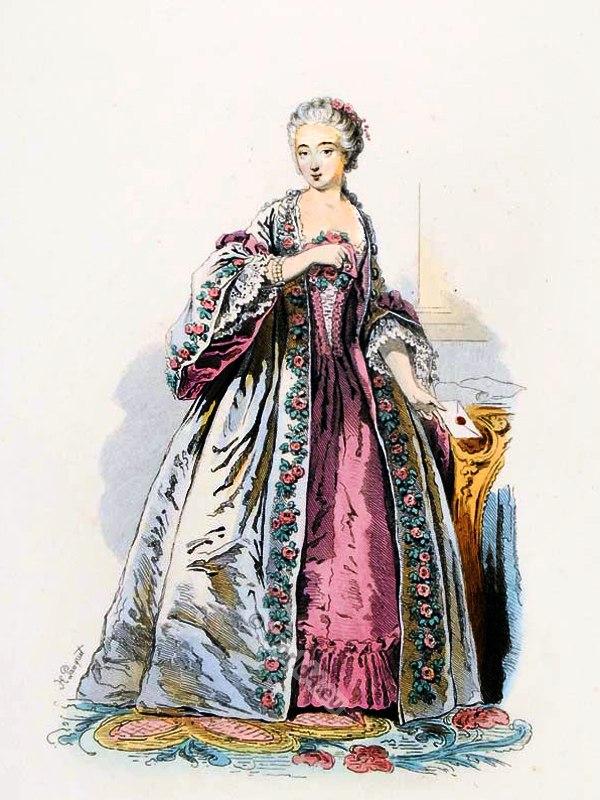 Comtesse, Barry, Contouche, farthingale, Louis XV,  Rococo, fashion