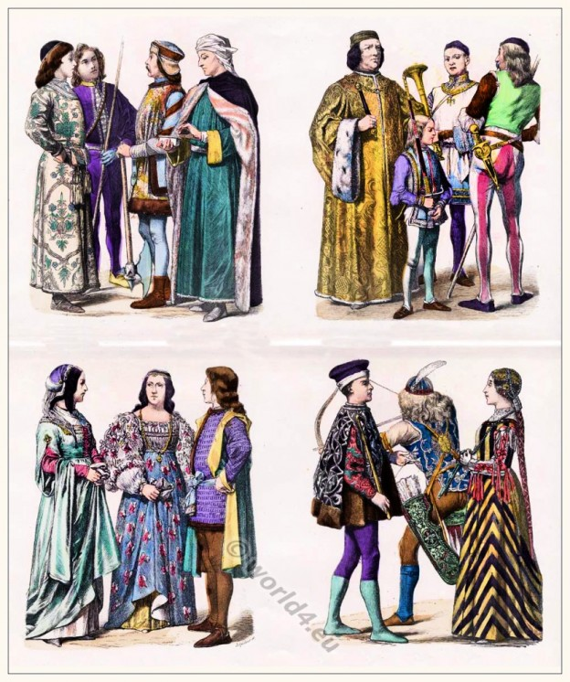 Italian Renaissance costumes. Medieval clothing in Italy.
