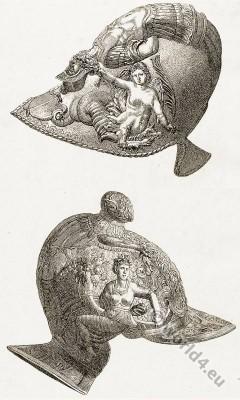 Warrior Helm armor, Body Equipment. Renaissance Helmet from crafted iron. Museum of Artillery, Paris. Italian workmanship. Chiemerical ornaments