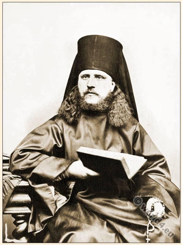 Greek Priest, Eastern, Orthodox, Vestment, Kamilavkion, Rhason, prayer book, rosary