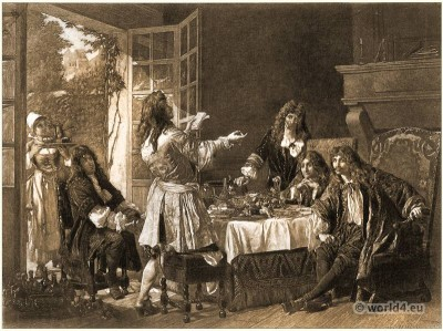 Molière French actor, theater director. George-Gaston Mélingue. Baroque costumes. 17th Century fashion. Allonge Wigs