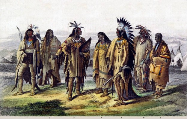American natives clothing. Iriquois. Assineboin. Pawnee. Dakotah, Sioux warrior costume.
