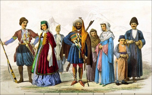 Traditional, Costumes, Georgian, Circassian Armenia,