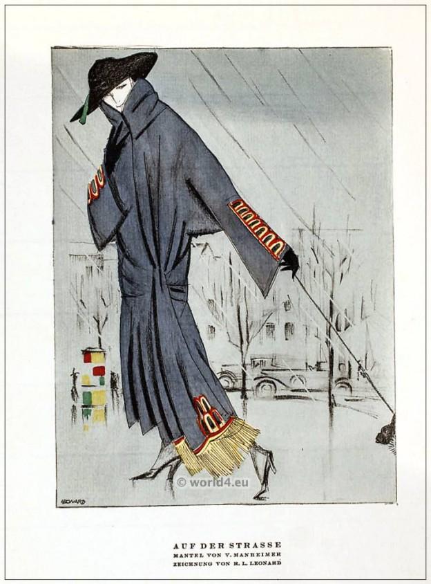 German Fashion designer V. Mannheim. Art deco costumes 1920s. Roaring twenties fashion. Gibson Girls clothing. STYL Fashion Magazine.