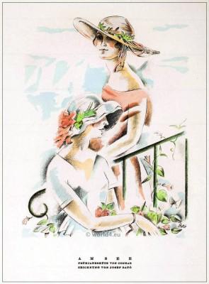 German Fashion designer Conrad. Art deco hats 1920s. Roaring twenties fashion. Gibson Girls hats. STYL Fashion Magazine.