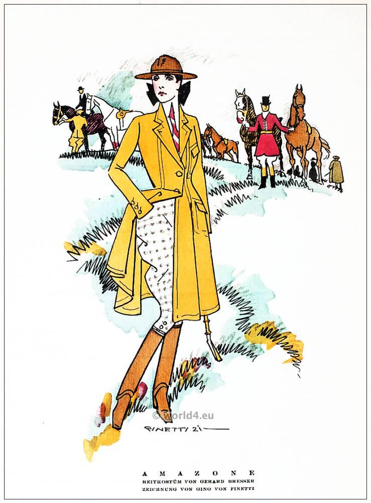 German fashion designer Gerhard Bresser. Illustrator Gino von Finetti. Art deco costumes 1920s. Roaring twenties fashion. Gibson Girls clothing. STYL Fashion Magazine.
