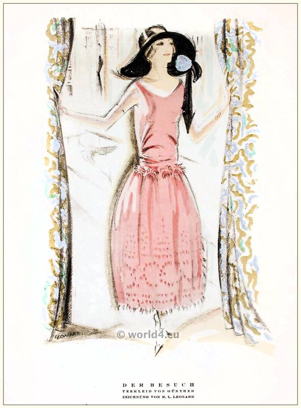 Tea gown by Günther. STYL Art Déco Fashion Magazine. German Art deco costumes 1920s. Roaring twenties fashion. Gibson Girls clothing.