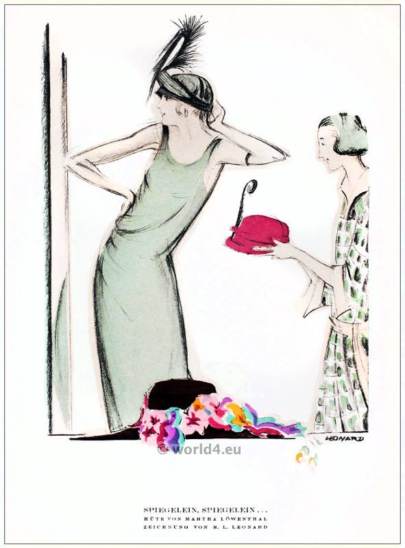 Hats from Martha Loewenthal. STYL Art Déco Fashion Magazine. German Art deco costumes 1920s. Roaring twenties fashion. Gibson Girls clothing.