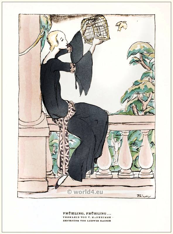 Tea gown by V. Mannheimer. STYL Art Déco Fashion Magazine. German Art deco costumes 1920s. Roaring twenties fashion. Gibson Girls clothing.