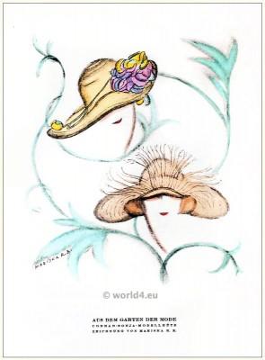 Conrad Sonja Model hats. STYL Art Déco Fashion Magazine. German Art deco costumes 1920s. Roaring twenties fashion. Gibson Girls clothing.