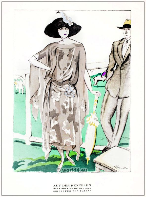 Race toilet. STYL, Art Déco Fashion Magazine. German Art deco costumes 1920s. Roaring twenties fashion. Gibson Girls clothing.