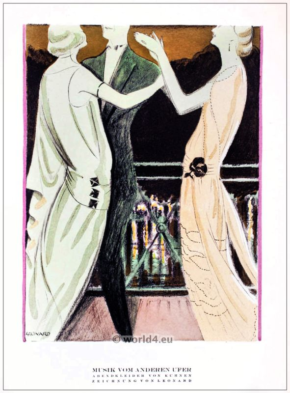 Evening Dresses. STYL, Art Déco Fashion Magazine. German Art deco costumes 1920s. Roaring twenties fashion. Gibson Girls clothing.