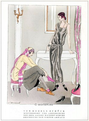 Winter sports costumes and evening shoes by Emil Jacoby. STYL, Art Déco Fashion Magazine. German Art deco costumes 1920s. Roaring twenties fashion. Gibson Girls clothing.