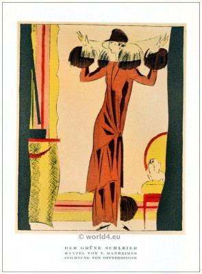 Coat of V. Mannheimer. STYL, Art Déco Fashion Magazine. German Art deco costumes 1920s. Roaring twenties fashion. Gibson Girls clothing.
