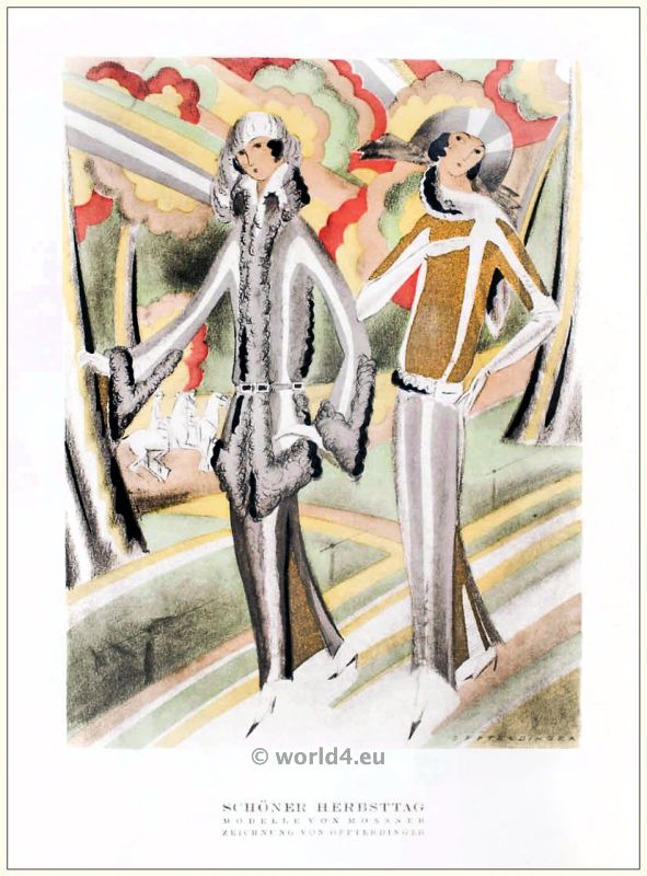 Art deco Costume models of Mossner. STYL, Art Déco Fashion Magazine. Roaring twenties fashion. Gibson Girls clothing.