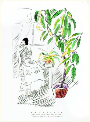 Art deco Plants by Herrmann Rothe. STYL, Art Déco Fashion Magazine. Roaring twenties fashion. Gibson Girls clothing.