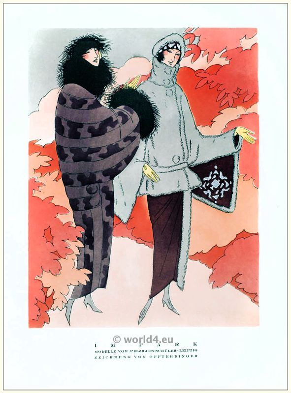 Art deco Fur coat and jacket models. STYL, Art Déco Fashion Magazine. Roaring twenties fashion. Gibson Girls clothing.