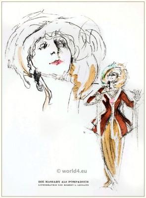 Fritzi Massari as Mdm. Pompadour. STYL, Art Déco Fashion Magazine. Roaring twenties fashion. Gibson Girls clothing.